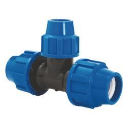 PP Rohr Verschraubung Blau PN16 Klemmfitting DVGW T-Stück reduziert 32 x 25 x 32