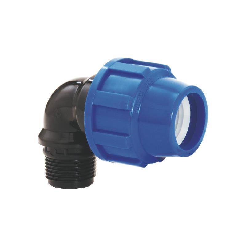 "PP Rohr Verschraubung Blau PN16 Klemmfitting DVGW, Winkel 90° 25 x AG 3/4"",Diverse,02091070, 5996361009781"