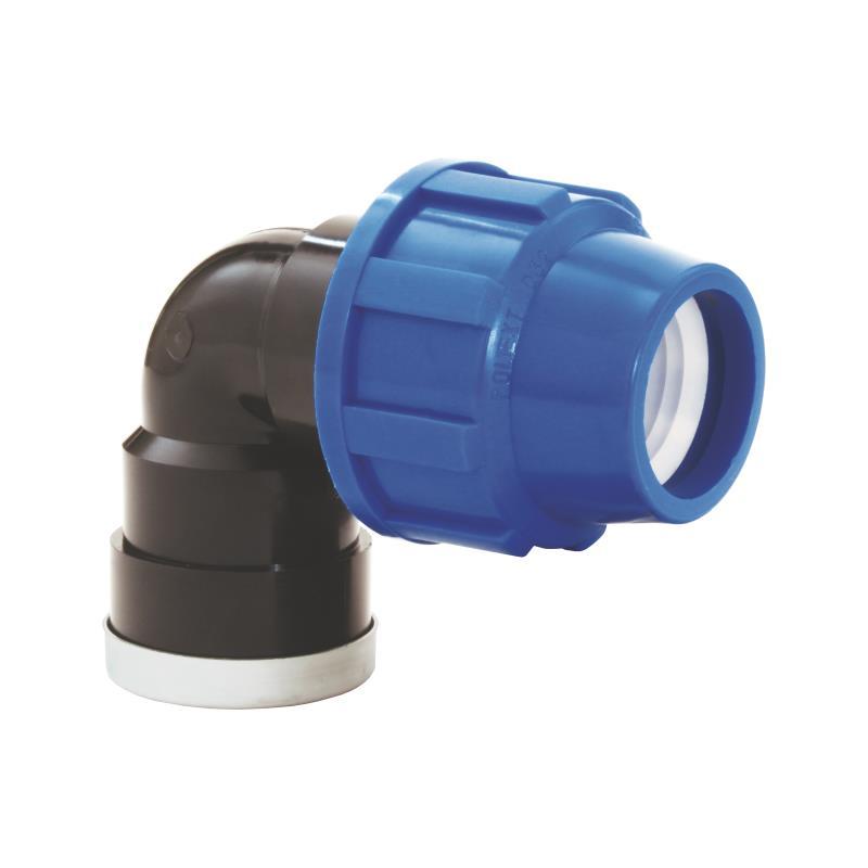 "PP Rohr Verschraubung Blau PN16 Klemmfitting DVGW, Winkel 90° 25 x IG 1"",Diverse,02101090, 5996361009712"