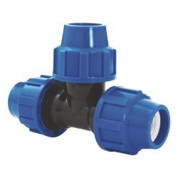 PP Rohr Verschraubung Blau PN16 Klemmfitting DVGW, T-Stück 20 x 20 x 20,Diverse,02131010, 5996361009842