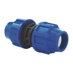 PP Rohr Verschraubung Blau PN16 Klemmfitting DVGW, Kupplung 25 x 25