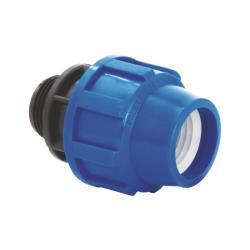 PP Rohr Verschraubung Blau PN16 Klemmfitting DVGW, Kupplung 20 x AG 1/2
