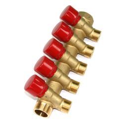 """Verteiler 5-Fach mit Absperrventil Rot Sanitär 3/4"""" x 1/2"""" Wasser Heizung  ,Poletti,C32500TR35, 8025459023693"""