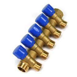 """Verteiler 5-Fach mit Absperrventil Blau Sanitär 3/4"""" x 1/2"""" Wasser Heizung  ,Poletti,C32500TB35, 8025459023686"""