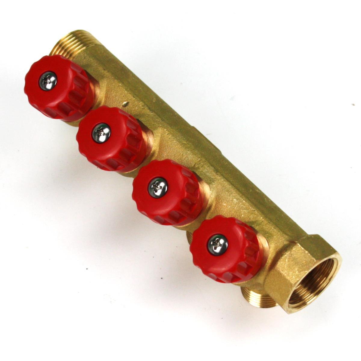 """Verteiler 4-Fach mit Absperrventil Rot Sanitär 3/4"""" x 1/2"""" Wasser Heizung  ,Poletti,C32400TR35, 8025459029756"""