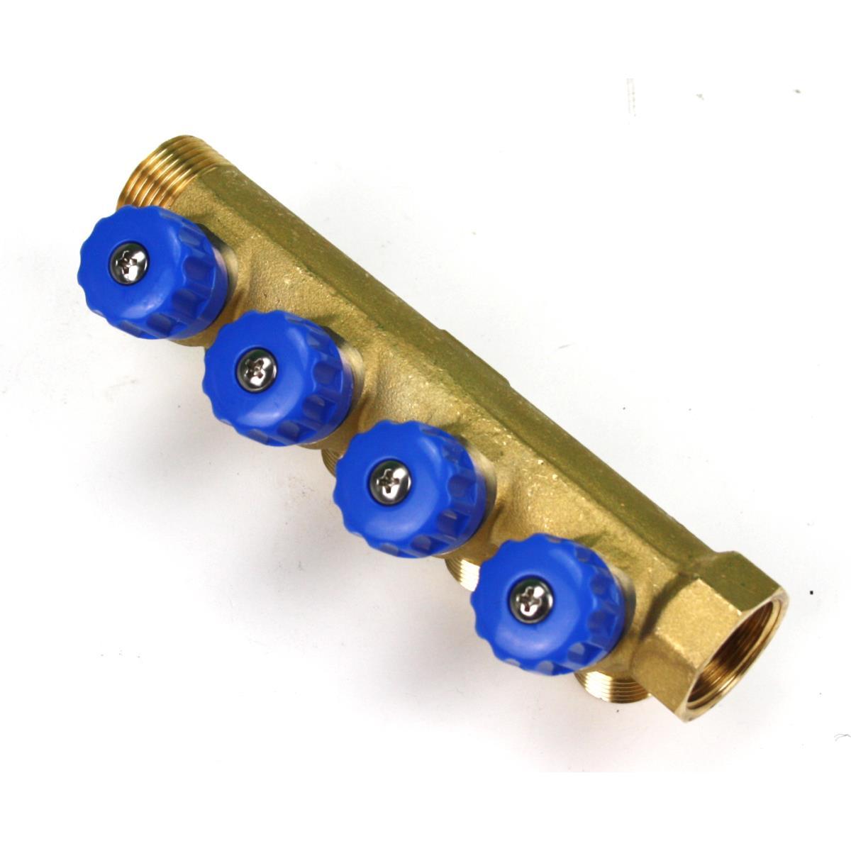 """Verteiler 4-Fach mit Absperrventil Blau Sanitär 3/4"""" x 1/2"""" Wasser Heizung  ,Poletti,C32400TB35, 8025459029749"""