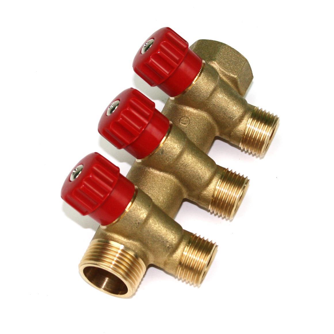 """Verteiler 3-Fach mit Absperrventil Rot Sanitär 3/4"""" x 1/2"""" Wasser Heizung  ,Poletti,C32300TR35, 8025459029732"""