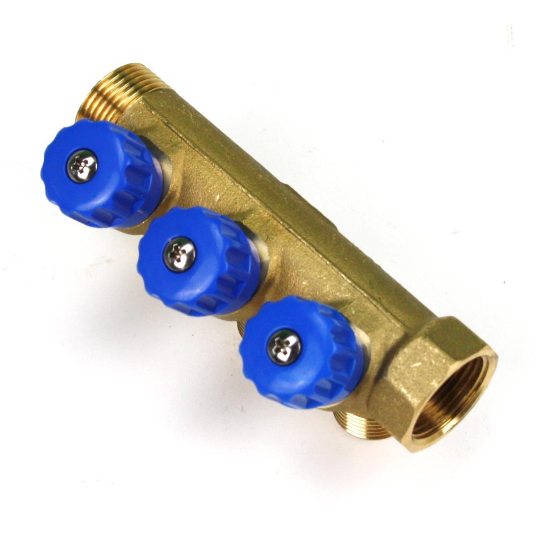 """Verteiler 3-Fach mit Absperrventil Blau Sanitär 3/4"""" x 1/2"""" Wasser Heizung  ,Poletti,C32300TB35, 8025459029725"""