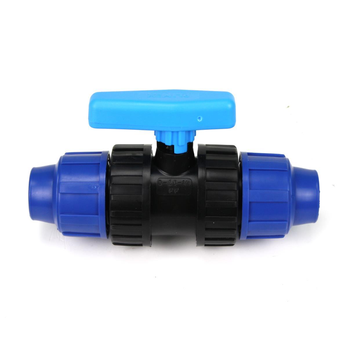 PP Rohr Verschraubung Blau PN16 Klemmfitting, Kugelhahn 32 x 32,Diverse,07013030, 5996361019957