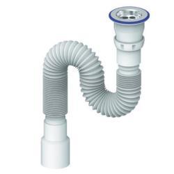 Spülen Siphon Edelstahlgitter flexibler Ablaufschlauch  40/50  Länge 370-1200 mm