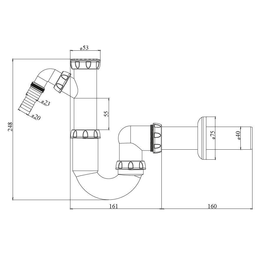 """Siphon Waschbecken Spüle mit Kompressionsmutter 5/4"""" bis 6/4"""" Geschirrspüler Ans,chud,Y 510 VE, 8595587421901"""