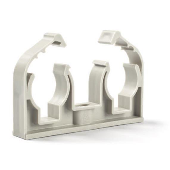 50x Rohrclip Grau 20mm Rohrbefestigung Rohrschelle Rohrhalter mit Verschluss