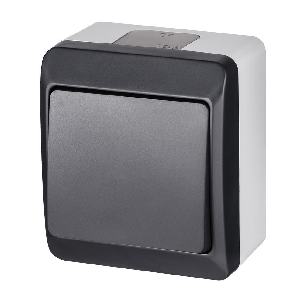 Aufputz einfach Lichtschalter Schalter / Wechselshalter IP44 Anthrazit  HERMES,Elektro-Plast,0331-07, 5902431697680