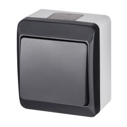 Aufputz einfach Lichtschalter Schalter / Wechselshalter IP44 Anthrazit  HERMES