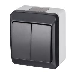 Aufputz zweifach Lichtschalter / Serienschalter IP44 Anthrazit HERMES