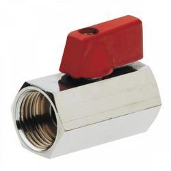"""Mini Kugelhahn Messing Waserhahn verchromt IG 1/2"""" x IG 1/2""""  Rot,M T,4109015, 8435319114247"""