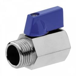 """Mini Kugelhahn Messing Waserhahn verchromt IG 3/8"""" x AG 3/8""""  Blau"""