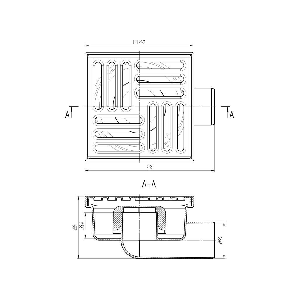 Bodenablauf 150x150x50mm Duschablauf Bad Ablauf Abflussrinne Badablauf Winkel,Aniplast,TQ5112EU, 4779037105137