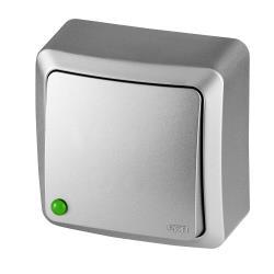 Aufputz Schalter Einfach IP20 10A 230V Lichtschalter silber serie BERG