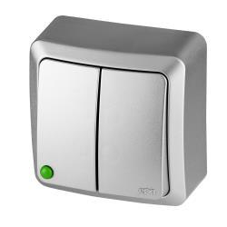 Aufputz Serienschalter IP20 10A 230V Doppelschalter silber serie BERG,Elektro-Plast,3711-06, 5902431697130