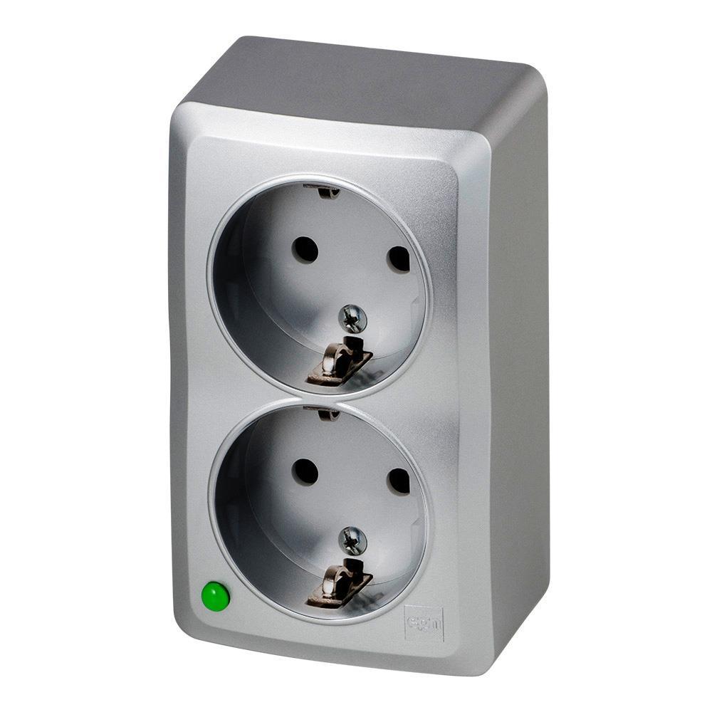 Aufputz Zweifach Schuko Steckdose IP20 16A 230V silber serie BERG,Elektro-Plast,3738-06, 5902431697208