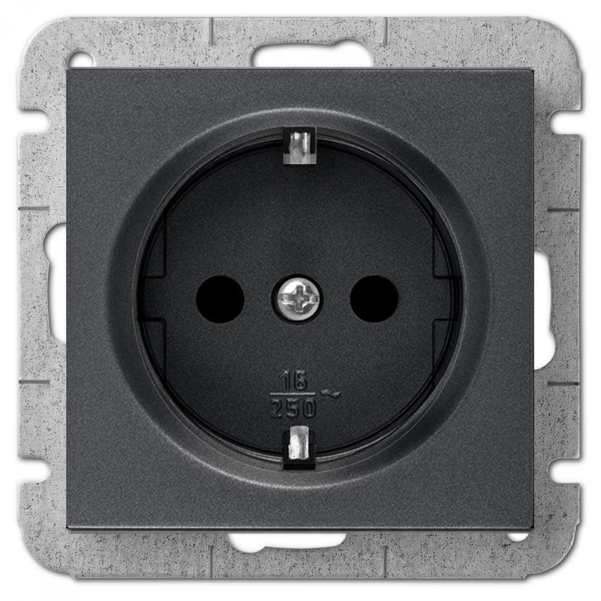 Unterputz Schuko Steckdose 16A schwarz Premium serie SENTIA,Elektro-Plast,1437-19, 5902431696683