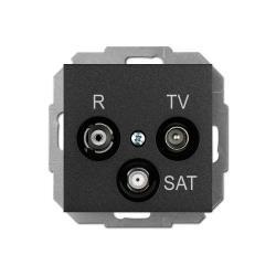 Unterputz Antennendose Radio + TV + SAT schwarz Premium serie SENTIA,Elektro-Plast,1453-19, 5902431696799