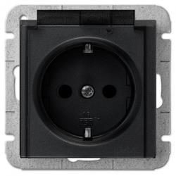 Unterputz Schuko Steckdose mit transparentem Deckel schwarz Premium serie SENTIA,Elektro-Plast,1469-19, 5902431696898