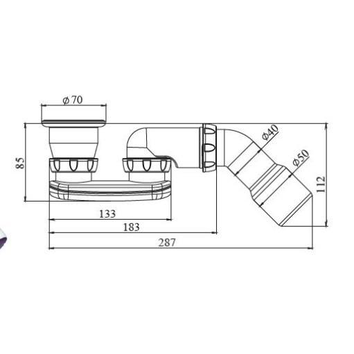 Duschwanne Siphon Sifon Geruchverschluss Ablaufgarnitur mit Edelstahlgitter,chud,G 21 E, 8595587421710