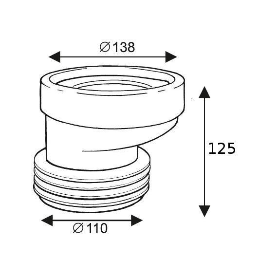 WC Manschette 125 mm exzentrisch Toilette Klo Anschluß Abfluß,chud,CH 530 40, 8595587401088