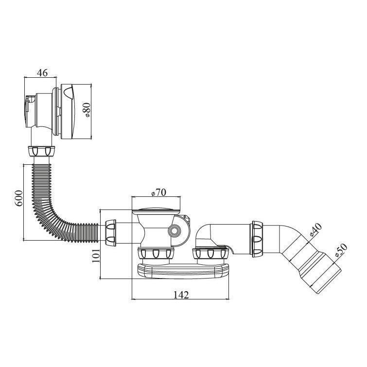 Ab- und Überlaufgarnitur Badewannensiphon flach Siphon Sifon Stöpsel,chud,S 101 E, 8595587421772