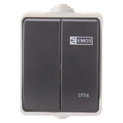 Aufputz Lichtschalter Serienschalter Schalter 10 A 230V IP54 Feuchtraum Draußen,EMOS,A1398.1, 8592920030875