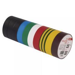 10 Rollen Elektriker Klebeband PVC Isolierband Isoband - 15mm x 10m