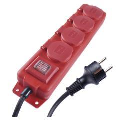 4fach Kupplung IP44 Steckdosenleiste Mehrfachsteckdose Schuko 3m Kabel