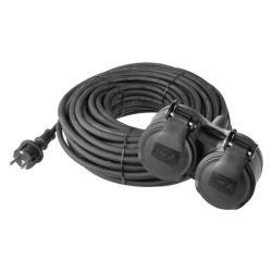 Strom Verlängerungskabel Schuko 10m Kabel Verlängerung schwarz 16A Gummi IP44