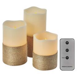 3 LED Kerzen mit Fernbedienung Timer Kerze bewegliche flackernd warmweiss