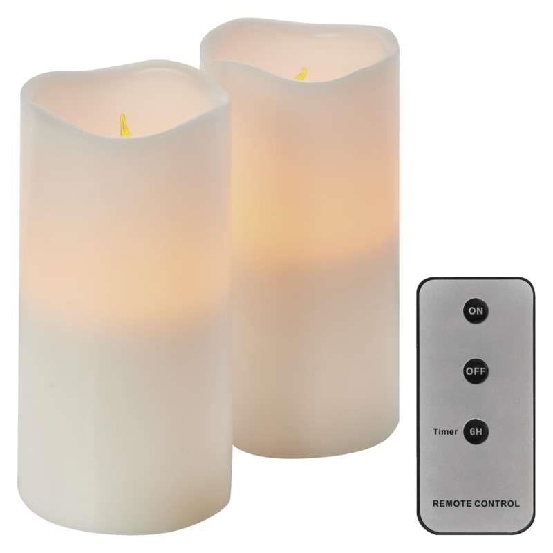 Realistisch Flackernde Led-Flammen aus Echtwachs in Elfenbeinfarbe Led Kerzen 12,5cm,15cm Hoch Flammenlose Kerzen Fernbedienung mit Timerfunktion 7,5 cm Durchmesser Gr/ö/ße 10cm