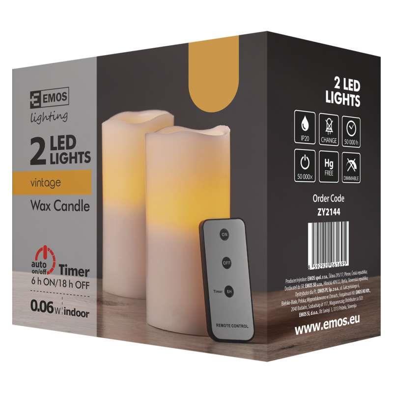 2 LED Kerzen mit Fernbedienung Timer Kerze bewegliche flackernd warmweiss,EMOS,ZY2144, 8592920061695