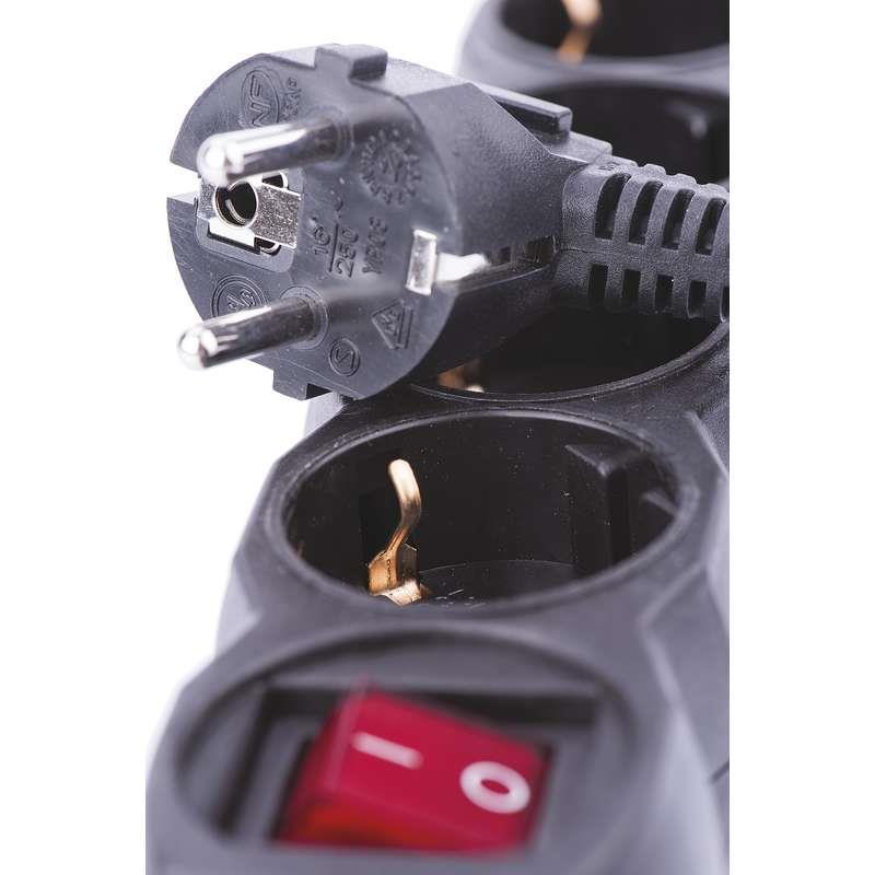 Steckdosenleiste Steckleiste 4 fach, Kinderschutz, mit Schalter 5 m, schwarz,EMOS,PC1425, 8592920013120
