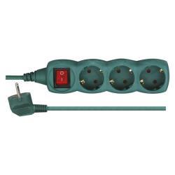 Steckdosenleiste Steckleiste 3 fach, 3m Kinderschutz, mit Schalter, grün
