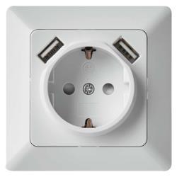 Steckdose mit 2x USB 2,1A und Schutzkontakt Unterputz 16A Schuko Serire Emos,EMOS,A6000.1, 8592920070406