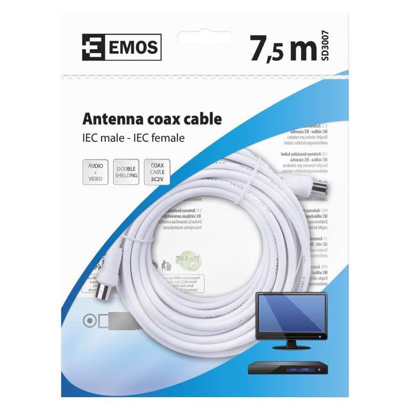 7,5m Antennen Koaxialkabel SAT TV Kabel Antennenkabel mit Konnektoren,EMOS,SD3007, 8592920002414