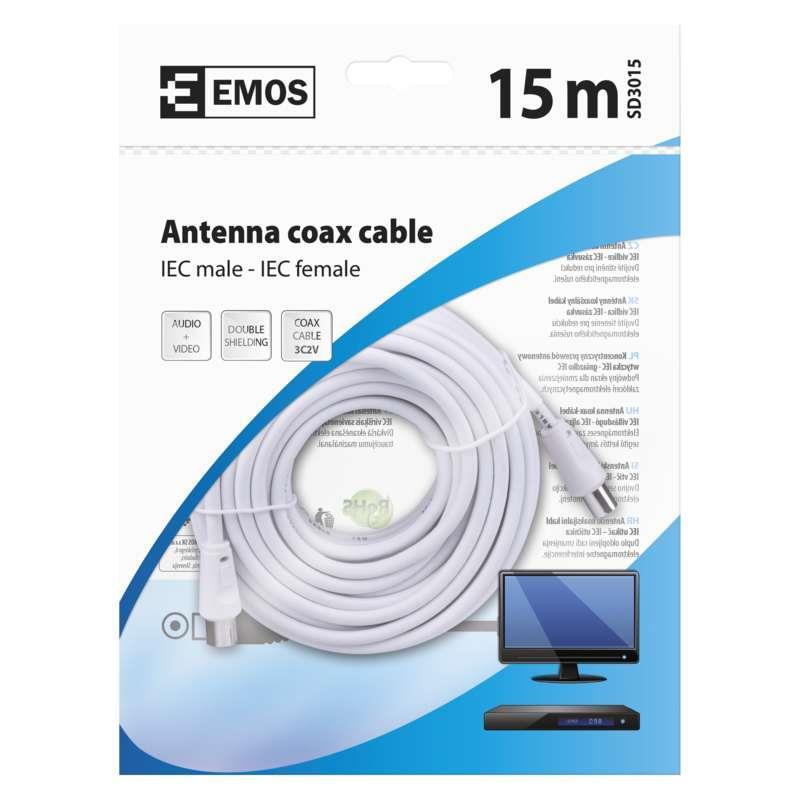 15m Antennen Koaxialkabel SAT TV Kabel Antennenkabel mit Konnektoren,EMOS,SD3015, 8592920002438