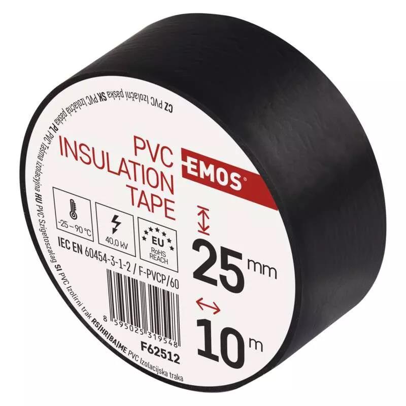 Rolle Schwarz Elektriker Klebeband PVC Isolierband Isoband - 25mm x 10m,EMOS,F62512, 8595025319548