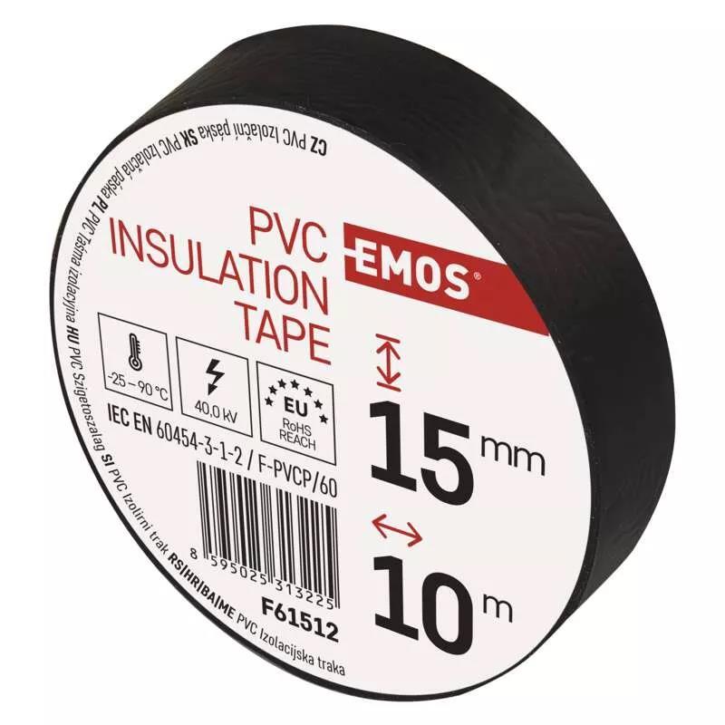 Rolle Schwarz Elektriker Klebeband PVC Isolierband Isoband - 15mm x 10m,EMOS,F61512, 8595025313225