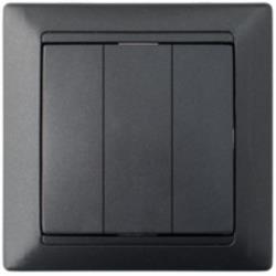 Dreifach Schalter Unterputz Lichtschalter 10A Premium serie STILE Graphit,Bylectrica,C0510-805-33, 4810158053935