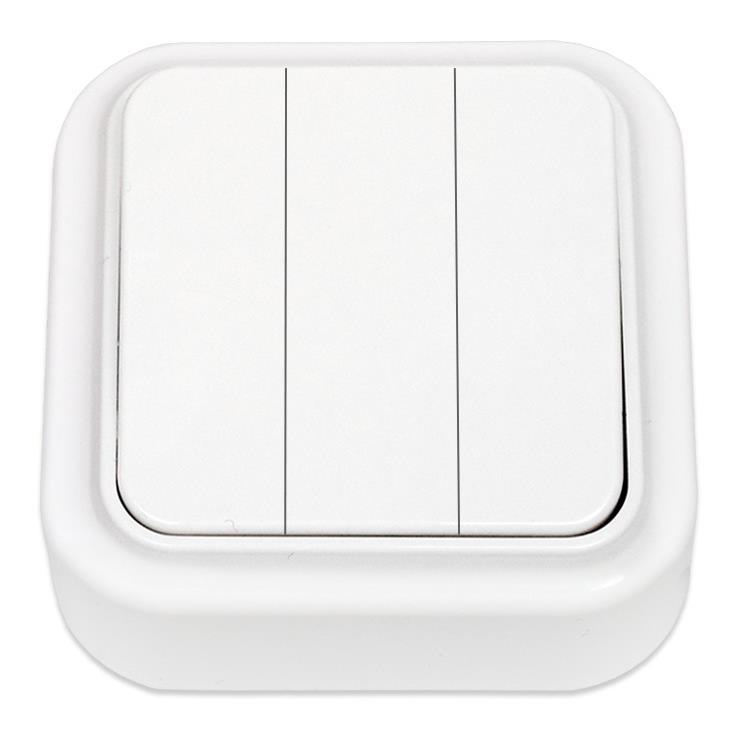 Dreifach-Lichtschalter Aufputz IP20, 3-fach schalter, farbe weiß, serie Praleska,Bylectrica,A056-137, 4810158001233