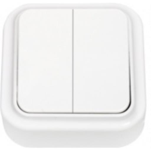 Zweifach-Lichtschalter Aufputz IP20, 2-fach schalter, farbe weiß, serie Praleska,Bylectrica,A56-134, 4810158001219