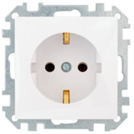 Schuko Steckdose Unterputz (Ohne Rahmen) 16A Premium serie STILE Weiß,Bylectrica,PC16-525-00, 4810158010495