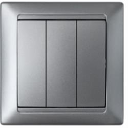 Dreifach Schalter Unterputz Lichtschalter 10A Premium serie STILE Silber